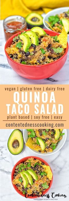 Enjoy this vegan Quinoa Taco Salad made with just 5 ingredients in 2 easy steps. A plant-based, gluten free, Mexican delight with quinoa, salsa, black beans, and avocado.
