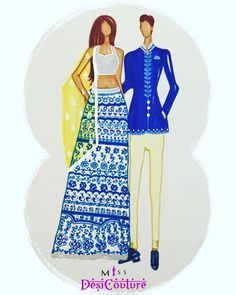 Beating Monday Blues in this couple illustration. Featuring vinatge embroidery pattern & match shrivani. Have a good start to the week! For inquiries and details please email us at miss.desi.couture@gmail.com