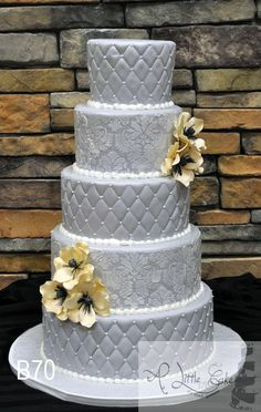 Slate gray Fondant Quilting And Damask Print wedding cake~  with beautiful peach handmade sugar flowers