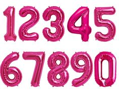 Number Balloons PINK Mylar Foil Giant Jumbo 34 by OhShinyPaperCo