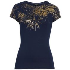 Women's Ted Baker London Amranth Stardust Fitted Tee ($79) ❤ liked on Polyvore featuring tops, t-shirts, dark blue, glitter top, sparkly tops, fitted tops, sparkly t shirts and blue top