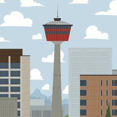 Calgary Tower - Calgary Landmark art print, home decor  Calgary landmark art print with a unique Mid-Century / Folk Art take. A perfect Calgary gift idea for any city lover or that poor soul that is leaving town. Purchase on www.snowalligator.com  Illustration by artist Jason Blower  #yyc #yycart #yycwallart #wallart #Calgaryart #Calgarygift #yycgift #snow_alligator  #charmingart #cuteart #midCentury #Folkart #cuteart #charmingart #yyclove