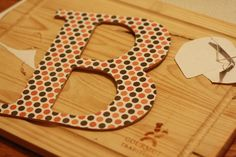 modge podge wooden letters Wood Letter Crafts, Wooden Letters, Wood Crafts, Cute Crafts, Crafts For Kids, Arts And Crafts, Diy Crafts, Crafty Projects, Diy Projects To Try
