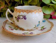 Antique Limoges Porcelain Hand Painted Demitasse Cup & Saucer ~ Flowers ~ Gold #DeliniersLimoges