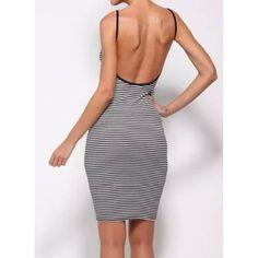 Sexy Spaghetti Strap Sleeveless Striped Backless Bodycon Women's Dress