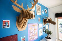 Cardboard Safari trophy heads at @Kicksend's office!