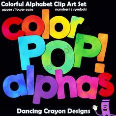 Alphabet: Color POP! Alphabet Clip Art from Dancing_Crayon_Designs on TeachersNotebook.com (1000 pages)  - Do you love bright colors?  This clip art alphabet set contains an explosion of beautiful colors!