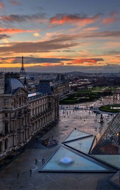 paris from louvre at sunset