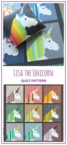 Love this pattern. Lisa the Unicorn Quilt Pattern, Quilt Pattern from Elizabeth Hartman - Unicorn Quilt Pattern - Baby Quilt Pattern - Lap Quilt Pattern #sewing #sewingpattern #ad #unicorn #unicorns #quilt #blanket #diy