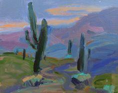 Arizona Desert Cactus Acrylic on canvas by TracyHainesFineArt