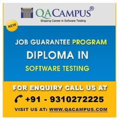 This Job Guarantee Training program is a stepping stone in the software testing domain as the candidates selected for this job guaranteed program get 100% placement on or before the completion of the training course.For More detail:- http://www.qacampus.com/individual-trainings/pgdst-job-guarantee-program/