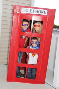 2015 Pinned for photo - Super Heroes Birthday Party Ideas Catch My Party - have a timed race, how long does it take you to change into a superhero costume in a phone booth? Superman Party, Superhero Birthday Party, 4th Birthday Parties, Boy Birthday, Birthday Ideas, Party Themes, Party Ideas, Diy, Elementary Counseling