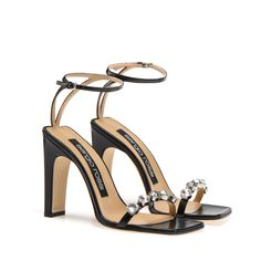 Sergio Rossi - 105 squared toe sandal in black nappa leather embellished with sparkling jewel crystals Stilettos, Sock Shoes, Shoes Heels, Sandal Heels, Sergio Rossi Boots, Frauen In High Heels, Mode Streetwear, Designer Heels, Ciabatta