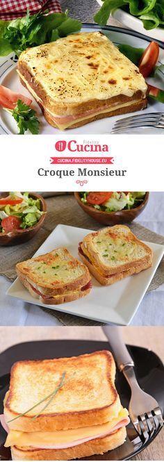 Croque Monsieur Croque Mr, My Favorite Food, Favorite Recipes, Good Food, Yummy Food, Grilled Sandwich, Recipe Mix, Eat Smart, Wrap Sandwiches