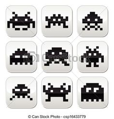 Vector - Space invaders, 8bit aliens buttons - stock illustration, royalty free illustrations, stock clip art icon, stock clipart icons, logo, line art, EPS picture, pictures, graphic, graphics, drawing, drawings, vector image, artwork, EPS vector art