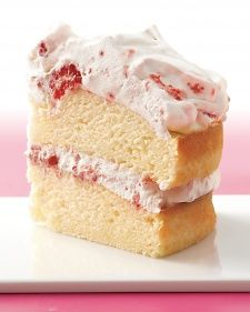Pretty pink whipped cream is an irresistible filling and frosting. It needs to be prepared just before serving.