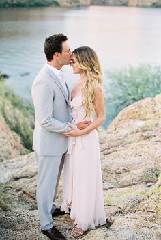 Gorgeous pale pink dress for an engagement session and a light grey tux, love these together!