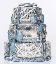judith leiber blue rhinestone wedding cake...  | vibrantbride.com