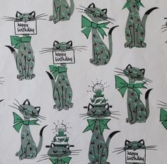 Vintage Gift Wrap Wrapping Paper Hallmark MOD Birthday CATS Kitties 1960s