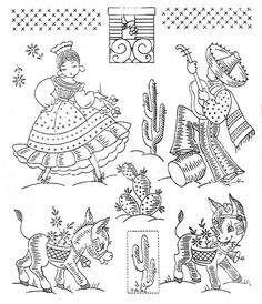 From an unmarked envelope full of various transfersVintage Embroidery Transfers Mexican themes. From an unmarked envelope full of various transfers Hand Stitch Embroidery Patterns, Embroidery Flowers Pattern, Embroidery Transfers, Cross Stitch Embroidery, Embroidery Designs, Embroidery Digitizing, Embroidery Sampler, Mexican Embroidery, Simple Embroidery