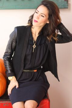 Leather Sleeves and a Suede Collar Blazer