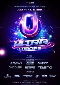 Ultra Europe Ultra Music Festival Croatia 2014 Line Up - Design - Festival Ultra Music Festival, Festival Logo, Festival Flyer, Festival Posters, Concert Posters, Alphabet Line, Flyer And Poster Design, Flyer Design, Certificate Design Template