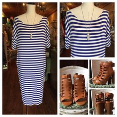 Loose fitting royal and white stripe dress w pockets (can be worn off the shoulder ) 💙 $36 ..fit is true sm -lg ..paired w open toe and heel boho chunky heels $46 Comment to hold for pick up 🛍 Link in bio above 👆 to order 📬 #love #newarrivals #karismaboutique #summer #dress