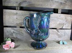 Indiana Glass Pitcher Iridescent Blue Carnival by TheStorageChest