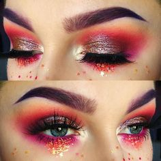 Red stars makeup | ko-te.com by @evatornado |