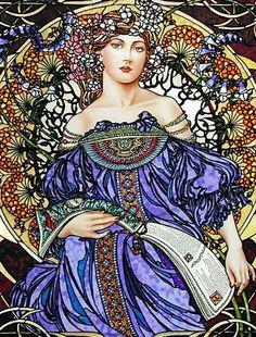 Art Nouveau - stained glass Daydream , inspired by Alphonse Mucha, by Jim Berberich Art Nouveau Mucha, Alphonse Mucha Art, Mucha Artist, Illustration Photo, Jugendstil Design, Graphisches Design, Art Decor, Decoration, Art Moderne