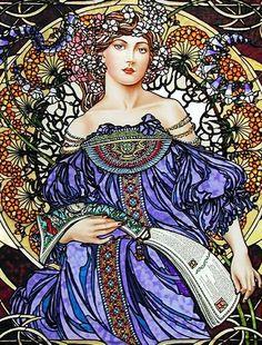 Mucha Daydream - Alphonse Mucha. http://media-cache-ak0.pinimg.com/originals/03/02/3b/03023b0cf9f28966d96a15d44fa82cb8.jpg (Thx Eileen)