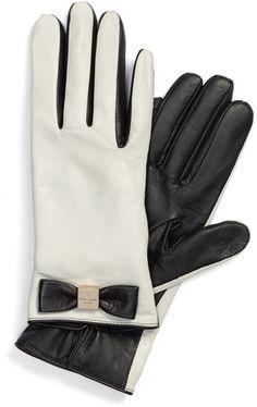 kate spade new york Bow Logo Genuine Leather Gloves