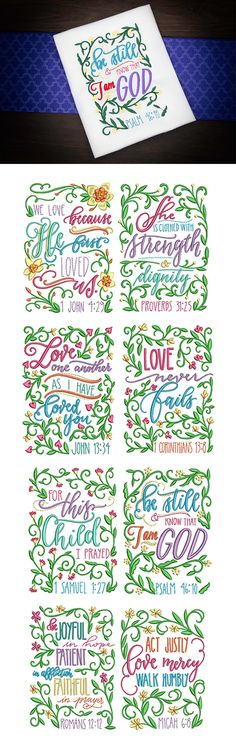 8 beautiful floral scripture themed embroidery designs! Floral Scriptures 1 design set available for instant download at designsbyjuju.com