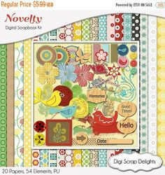 50% OFF TODAY Novelty Digital Scrapbook Kit w Birds, Veneer Wood, Turquoise, Blue, Yellow, Red & Green  Instant Download  #Scrapbooking #DigiScrapDelights #ClipArt #scrapbookingkits #novelty