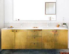 Home Interior Modern .Home Interior Modern Brass Kitchen, Brass Bathroom, Bathroom Interior, Small Bathroom, Bathroom Cabinets, Bathroom Vanities, Concrete Bathroom, White Bathrooms, Luxury Bathrooms