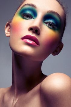 Rainbow makeup that would be sooo perfect for our annual costume party...