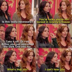 """What's that, sis? I can't hear you"" - Regina and Zelena ((haha)) #OnceUponATime"