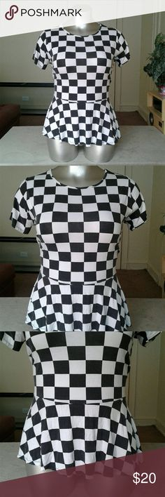 Asos Curve Black and White Checkered Shirt Top Tops Tees - Short Sleeve