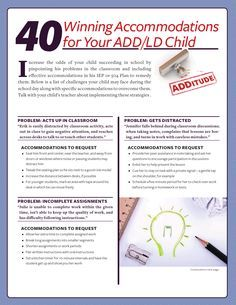40 IEP/504 Accommodation ideas for students with ADHD - also some good tips for kids distracted with sensory issues!