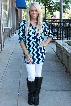 Come on Down Chevron Blouse - Restocked - UOIONLINE.COM