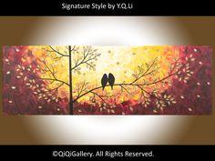 "15% off Original Abstract Landscape Painting Impasto acrylic Palette Knife Love Birds Painting Tree Painting ""Autumn Romance"""