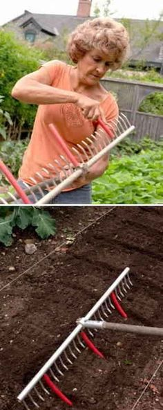 Great gardening tips! 11 Use A Rake With Tubing Attached To Mark Rows For Planting Veg Garden, Garden Beds, Lawn And Garden, Garden Tools, Garden Rake, Garden Cottage, Spring Garden, Farm Gardens, Outdoor Gardens