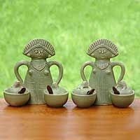 Ceramic condiment bowls, 'Spicy Lasses' (pair) by Putu Oka Mahendra, Bali