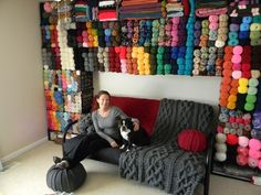 I want one of these in my home someday! Wall of Yarn Storage