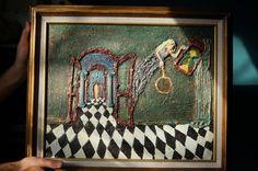 Original modern abstract mixed media texture fine art painting. #Modernism