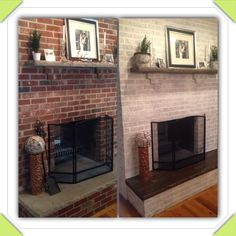 Fireplace is done! Annie Sloan chalk paint pure white diluted with water. I painted my blah grey cement hearth like wood panels, I'm so happy with the results!
