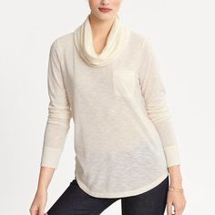 Banana Republic cowl neck long sleeve tee Banana Republic cowl neck long sleeve tee with breast pocket in excellent condition Banana Republic Tops Tees - Long Sleeve