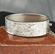 Swallow Engraved Art Deco Bangle Bracelet  #English #Silver #Art #Bangle #Engraved #Bracelet #Sterling #Victorian #Deco #Choker