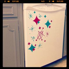 Appliance Decals in Atomic Retro Designs in Red and Turquoise Blue. Great for the Retro Kitchen on Etsy, $15.00