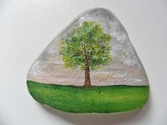Lonely tree miniature painting on lovely by Alienstoatdesigns